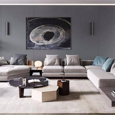 沙发组合, 多人沙发, 茶几, 椅子, 壁画, 盆栽, 边几, 台灯, 现代