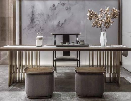 新中式, 桌椅组合, 茶具, 花瓶
