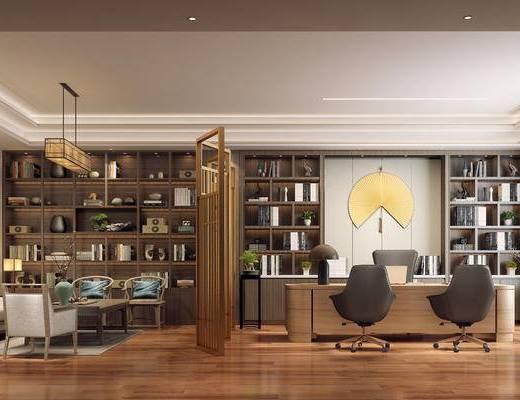 新中式, 办公室, 办公桌, 椅子, 置物架, 书籍, 吊灯, 沙发, 茶几