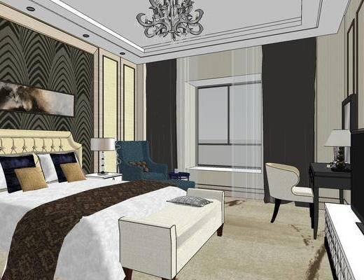 酒店客房, 双人床, 床尾塌, 壁画, 吊灯, 椅子, 桌子, 台灯, 电视柜, 现代