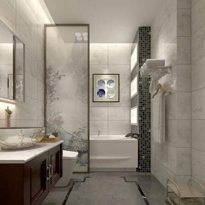 卫浴, 镜子, 洗手台, 马桶, 浴缸, 壁画, 置物架, 中式