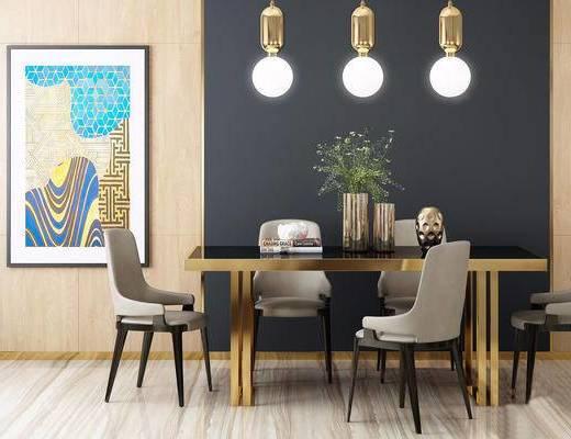 现代简约, 桌椅组合, 吊灯, 植物, 花瓶