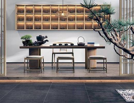 新中式茶室, 桌子, 椅子, 置物柜, 盆栽, 新中式