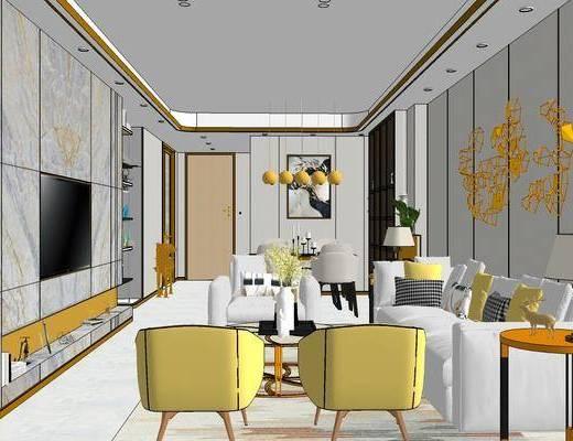 现代客厅餐厅, 客厅餐厅, 沙发组合