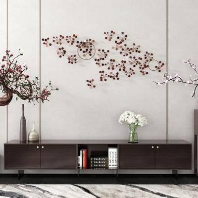 边柜, 壁画, 边几, 花瓶, 盆栽, 新中式