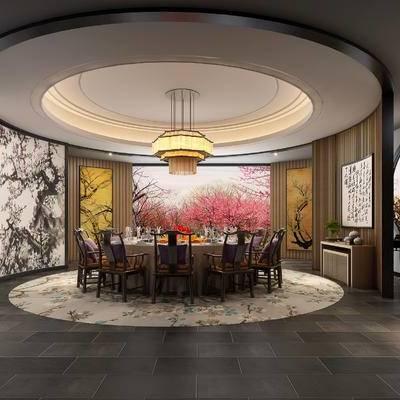 中式包间, 吊灯, 壁画, 桌子, 椅子, 边柜, 中式