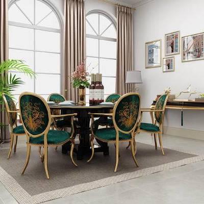 桌椅组合, 桌子, 椅子, 壁画, 边几, 台灯, 盆栽, 新古典