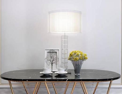 摆件组合, 台灯, 桌子, 相框, 简欧