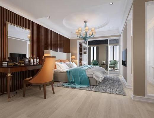 现代卧室, 吊灯, 椅子, 梳妆台, 边几, 镜子, 地毯, 现代