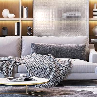 现代, 多人沙发, 茶几, 沙发, 摆件
