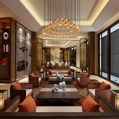 中式包间, 多人沙发, 桌子, 椅子, 置物柜, 壁画, 台灯, 吊灯, 中式