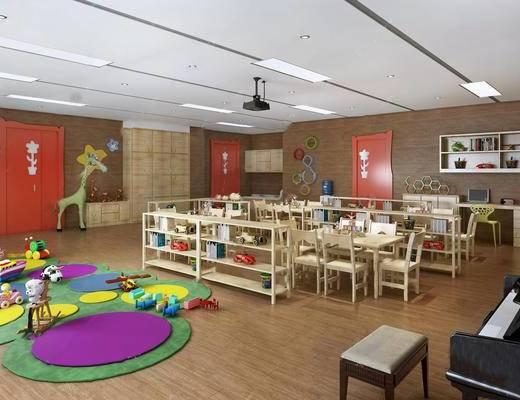 教室, 桌椅组合, 玩具, 墙饰