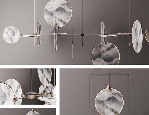 新中式, 吊灯组合, 灯具组合, 中式吊灯