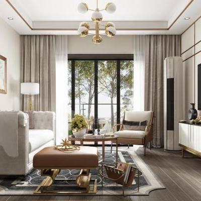 后现代客厅, 多人沙发, 电视柜, 壁画, 边几, 吊灯, 台灯, 边柜, 地毯, 后现代