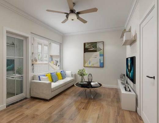 客厅, 现代沙发, 沙发组合, 沙发茶几组合, 吊扇, 现代客厅