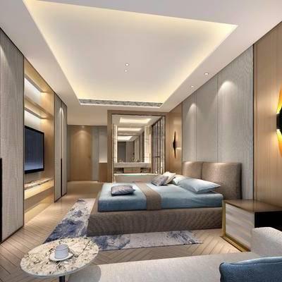 中式客房, 双人床, 床头柜, 多人沙发, 边几, 浴缸, 壁灯, 中式