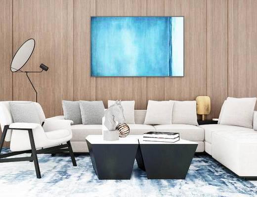 沙发组合, 多人沙发, 茶几, 椅子, 现代