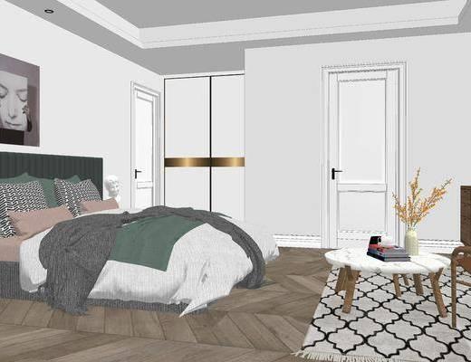 卧室, 床, 茶几, 挂画, 北欧, 北欧卧室