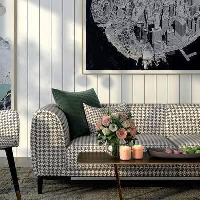 沙发组合, 壁画, 茶几, 多人沙发, 椅子, 现代