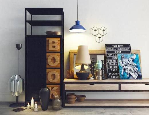 北欧简约, 柜子, 吊灯, 陈设品组合, 花瓶