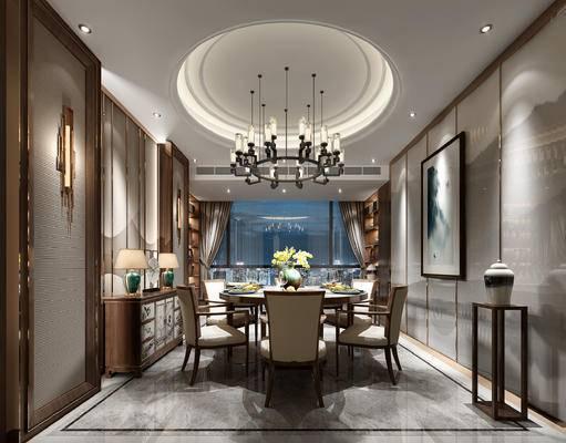 新中式餐厅, 吊灯, 壁画, 桌子, 椅子, 置物柜, 台灯, 边柜, 边几, 新中式