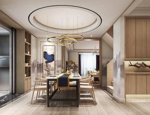 新中式餐厅, 吊灯, 桌子, 椅子, 壁画, 多人沙发, 置物柜, 新中式