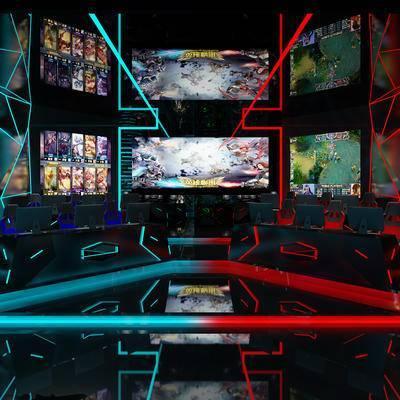 网吧, 壁画, 桌子, 椅子, 电脑, 现代