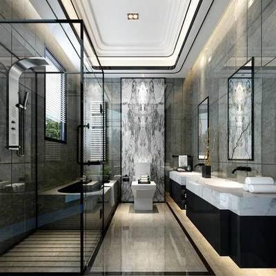 卫浴, 马桶, 洗手台, 淋浴间, 现代