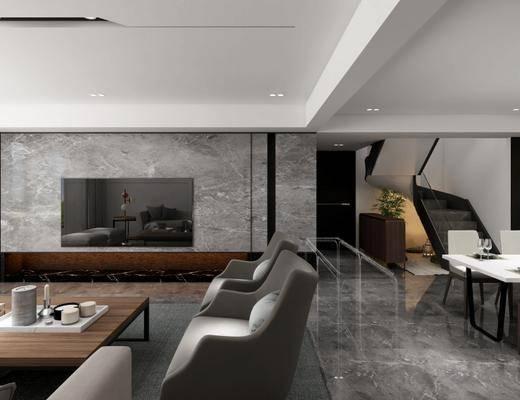 现代客厅, 多人沙发, 茶几, 椅子, 桌子, 边柜, 地毯, 现代