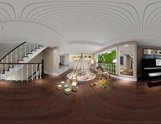 现代儿童活动区, 钢琴, 镜子, 凳子, 玩具, 置物柜, 现代