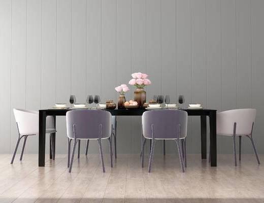 桌椅组合, 桌子, 椅子, 现代
