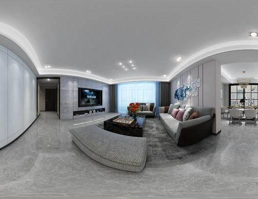现代客餐厅, 多人沙发, 茶几, 椅子, 电视柜, 桌子, 沙发躺椅, 置物柜, 现代