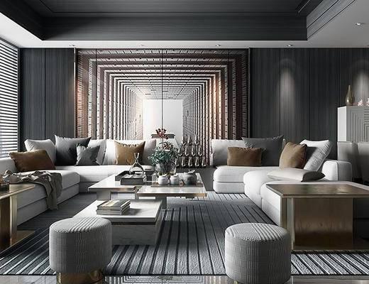后现代客厅, 多人沙发, 茶几, 凳子, 边几, 台灯, 桌子, 椅子, 后现代