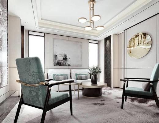 现代简约, 售楼处, 签约室, 吊灯, 沙发茶几组合