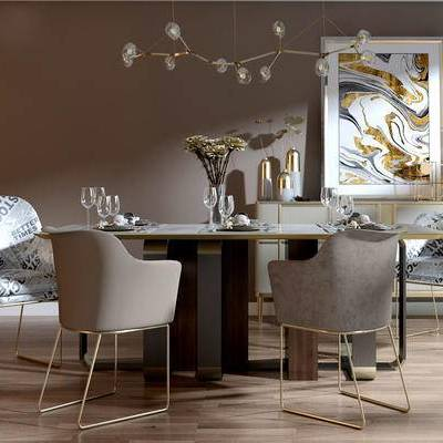 桌椅组合, 桌子, 椅子, 吊灯, 壁画, 欧式