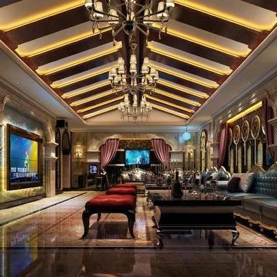 KTV, 多人沙发, 凳子, 茶几, 壁灯, 吊灯, 现代