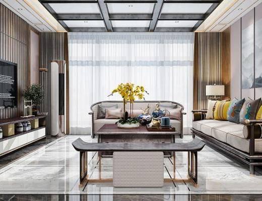 新古典, 客厅, 沙发, 台灯, 茶几, 花瓶, 凳子