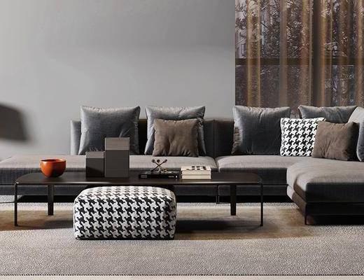 沙发组合, 多人沙发, 茶几, 沙发凳, 边几, 台灯, 现代