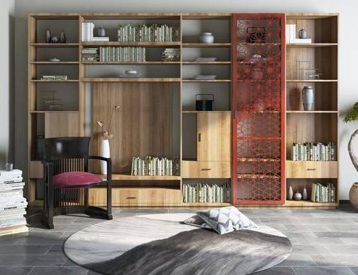 新中式书柜书椅盆栽饰品组合, 新中式, 书柜, 椅子, 书本, 植物