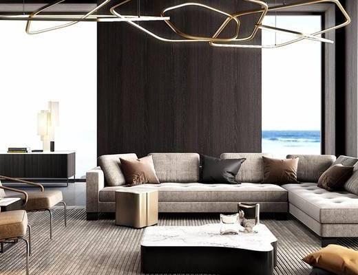 沙发组合, 落地灯, 多人沙发, 吊灯, 椅子, 茶几, 边柜, 现代