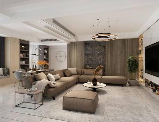 现代, 客餐厅, 桌椅组合, 沙发组合
