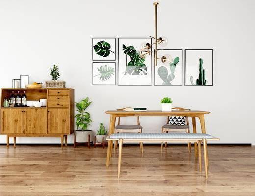 桌椅组合, 桌子, 椅子, 壁画, 边柜, 吊灯, 北欧