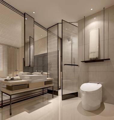 卫浴间, 马桶, 洗手台, 壁画, 镜子, 现代