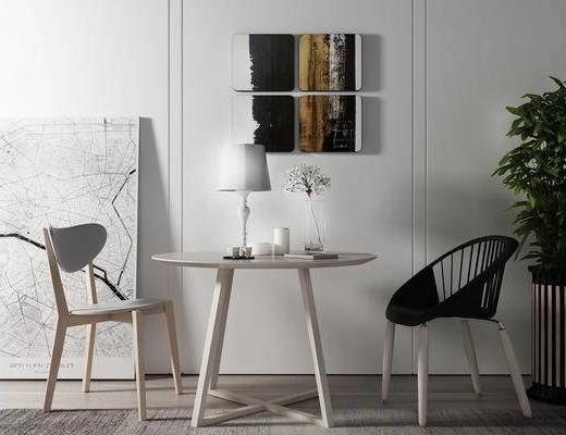 桌椅组合, 桌子, 椅子, 壁画, 台灯, 盆栽, 现代