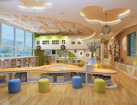 现代幼儿园, 幼儿园, 教室, 过道走廊