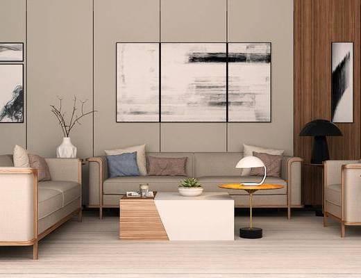 现代简约, 沙发茶几组合, 植物盆栽, 花瓶, 现代