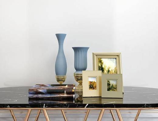 摆件组合, 桌子, 相框, 花瓶, 简欧