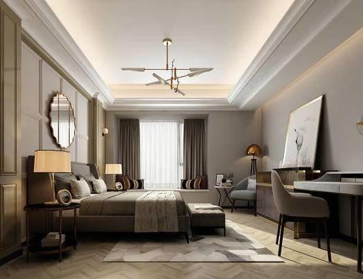 现代卧室, 吊灯, 双人床, 边几, 台灯, 椅子, 桌子, 床尾塌, 壁画, 现代