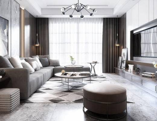 现代客厅, 壁画, 吊灯, 多人沙发, 茶几, 沙发凳, 电视柜, 边几, 台灯, 现代