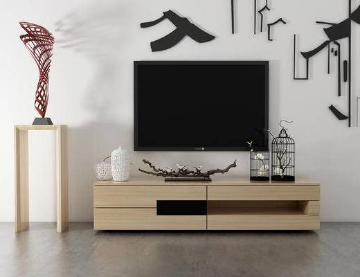 电视柜, 边几, 壁画, 现代